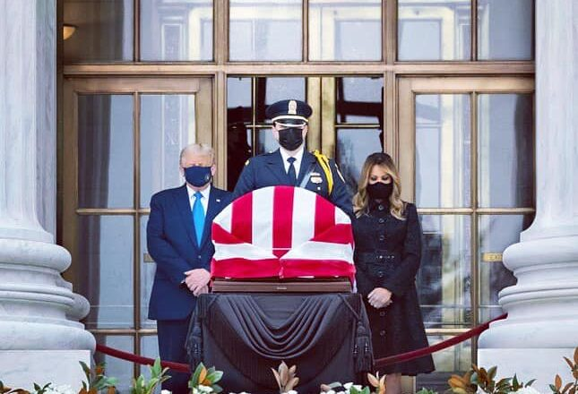 President Donald J. Trump Alone with First Lady Melania Trump Paid Their Respects To A Fallen Hero Justice Ruth Bader Ginsburg